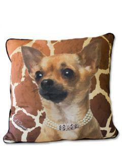 POPPA-ARTZEE - Tan Chihuahua Throw Pillow