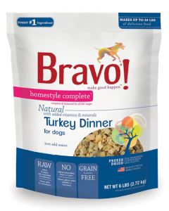 Bravo! Freeze Dried Turkey Homestyle Complete Dinner Dog Food
