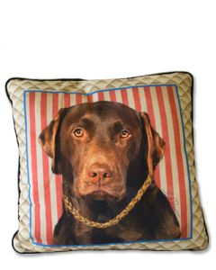 POPPA-ARTZEE - Chocolate Labrador Throw Pillow