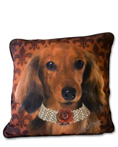 POPPA-ARTZEE - Red Long Hair Doxie Throw Pillow