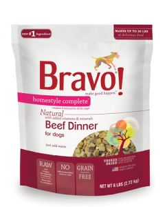 Bravo! Freeze Dried Beef Homestyle Complete Dinner Dog Food