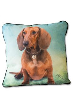 POPPA-ARTZEE -Tan Doxie Throw Pillow