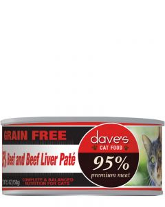 Dave's Pet Food 95% Premium Meat Beef & Beef Liver Paté Canned Cat Food