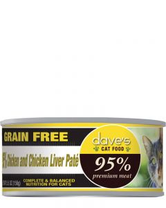 Dave's Pet Food 95% Premium Meat Chicken & Chicken Liver Paté Canned Cat Food