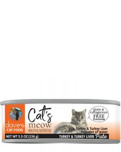 Dave's Pet Food Cat's Meow 95% Turkey & Turkey Liver Canned Cat Food
