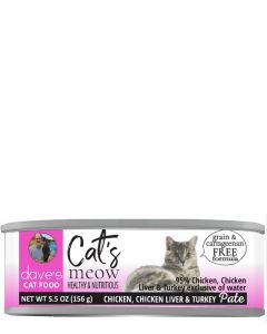 Dave's Pet Food Cat's Meow 95% Chicken, Chicken Liver & Turkey Canned Cat Food