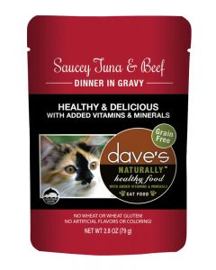 Dave's Pet Food Naturally Healthy Saucey Tuna & Beef Dinner in Gravy Cat Food Pouch