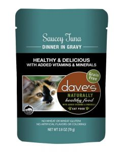 Dave's Pet Food Naturally Healthy Saucey Tuna Dinner in Gravy Cat Food Pouch