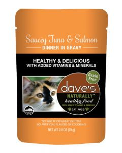 Dave's Pet Food Naturally Healthy Saucey Tuna & Salmon Dinner in Gravy Cat Food Pouch