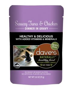 Dave's Pet Food Naturally Healthy Saucey Tuna & Chicken Dinner in Gravy Cat Food Pouch