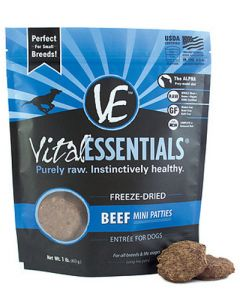 Vital Essentials® Freeze-Dried Beef Mini Patties Grain Free Limited Ingredient Dog Entrée