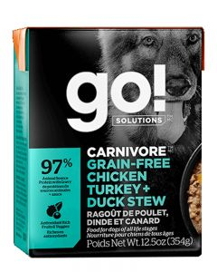 GO! SOLUTIONS CARNIVORE Grain Free Chicken, Turkey + Duck Stew