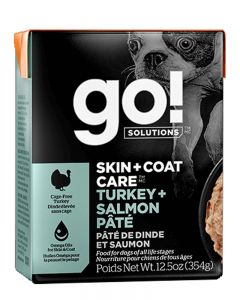 GO!  Solutions Skin + Coat Care Turkey + Salmon Pate Dog Food