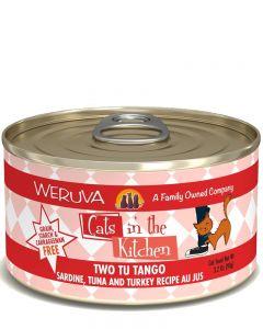 Weruva Cats in the Kitchen Two Tu Tango Sardine, Tuna and Turkey Recipe Au Jus